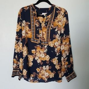 Charter Club Gold Floral Blouse